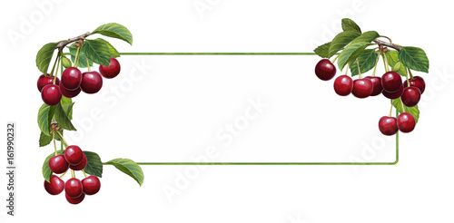 cartoon scene with beautiful and colorful cherries frame on white background Tableau sur Toile