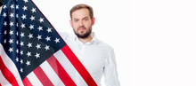 Smiling Patriotic Man Holding United States Flag. USA Celebrate 4th July.