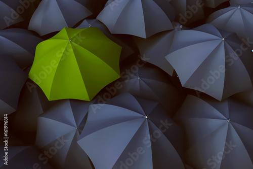 Grüner Regenschirm zwischen vielen grauen Regenschirmen Canvas Print