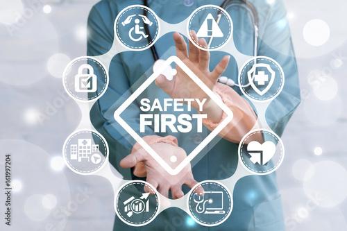 Obraz na plátně Work Safety Concept - regulations and standard in medical hospital