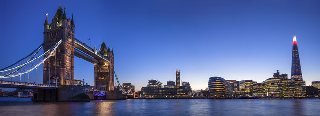 Fototapeta na wymiar Tower Bridge, The Shard & The City Of London During Blue Hour