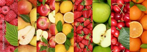 Plakat Owoce owocowe owoce tło zbiory organiczne Jabłka pomarańczowe jabłka cytrynowe