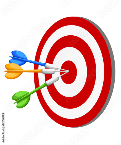 Photo  Target Dart arrow hitting center target on white background, flat vector illustration Web site page and mobile app design vector element
