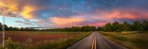 Fototapeta Beautiful sky with country road obraz