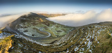 Panorama From Mam Tor Of The Edale Hope Valley, Peak District, UK