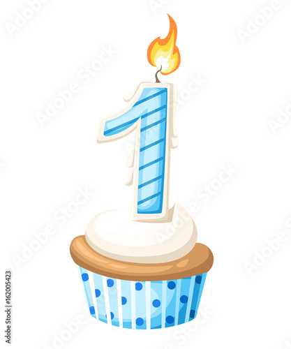 Happy 1 First Birthday Boy Card With Cupcake And Candle In Flat