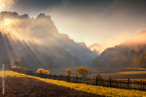 Morning sunshine in mountainous landscape in autumn colors, Slovakia - Sulov rocks, Europe.