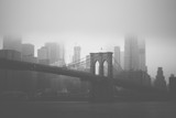 Brooklyn Bridge & NYC skyline in black and white style - 162007284