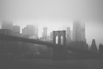Fototapeta Brooklyn Bridge & NYC skyline in black and white style
