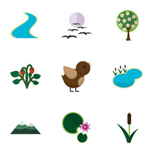 Flat Icon Ecology Set Of Bird, Lotus, Tree And Other Vector Objects. Also Includes Mountain, Lake, Tree Elements.