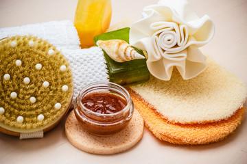 Fototapeta na wymiar Set for care of skin body, bath accessories