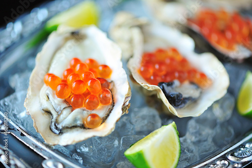 Raw Oysters with Red Caviar