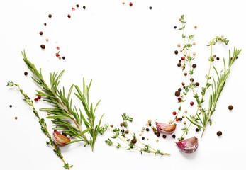 Herbs and spices on white - background for cooking