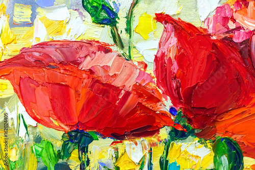 Stickers pour porte Rouge Oil Painting, Impressionism style, texture painting, flower still life painting art painted color image,