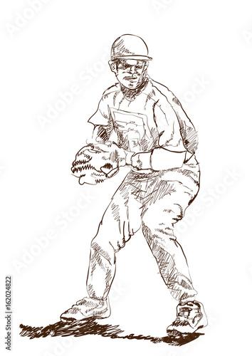 Sketch of Baseball player in vector illustration. Poster
