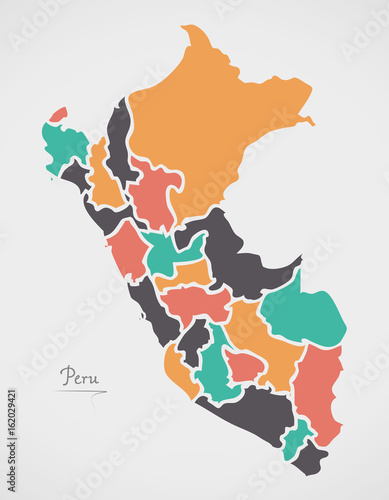Fotografie, Obraz  Peru Map with states and modern round shapes