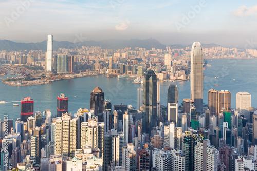Fotobehang Hong-Kong City of Hong Kong city central business downtown skyline, cityscape background