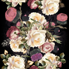 Obraz na Szkle Do sypialni Botanical floral pattern with rose flowers for design. Ideal for fabric
