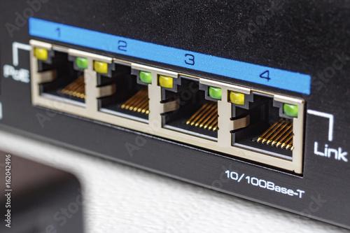 Платно Ethernet switch ports with PoE function closeup