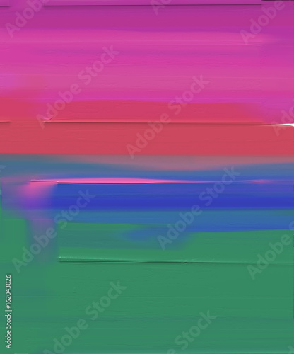Poster Rose Abstract colorful oil painting on canvas. Abstract image of meadow and field in green and red and blue. Oil color paintings background