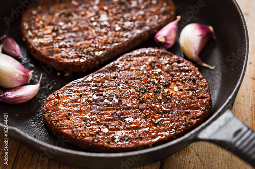 Meet free savoury flavour grillsteak, made with Mycoprotein, in pepper coating