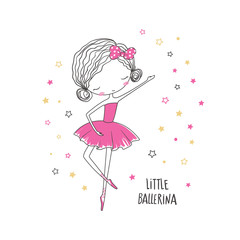 Fototapeta Little ballerina. Fashion illustration for clothing