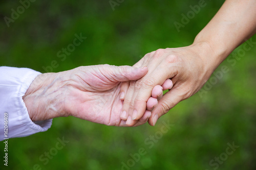 Poster Nature Hands of young adult and senior women over green background