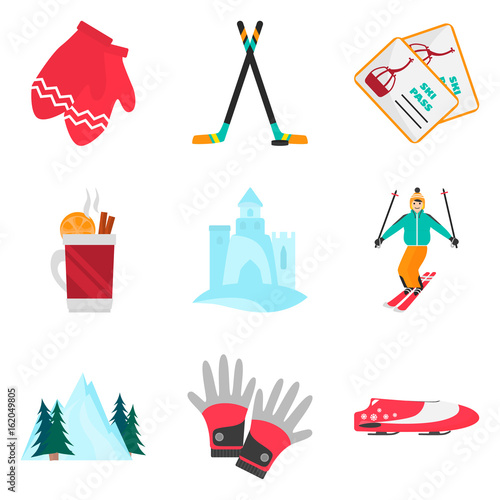 Photo Winter rest and sports color flat icons set for web and mobile design