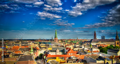 Panoramic aerial cityscape of Copenhagen city in Denmark Canvas Print