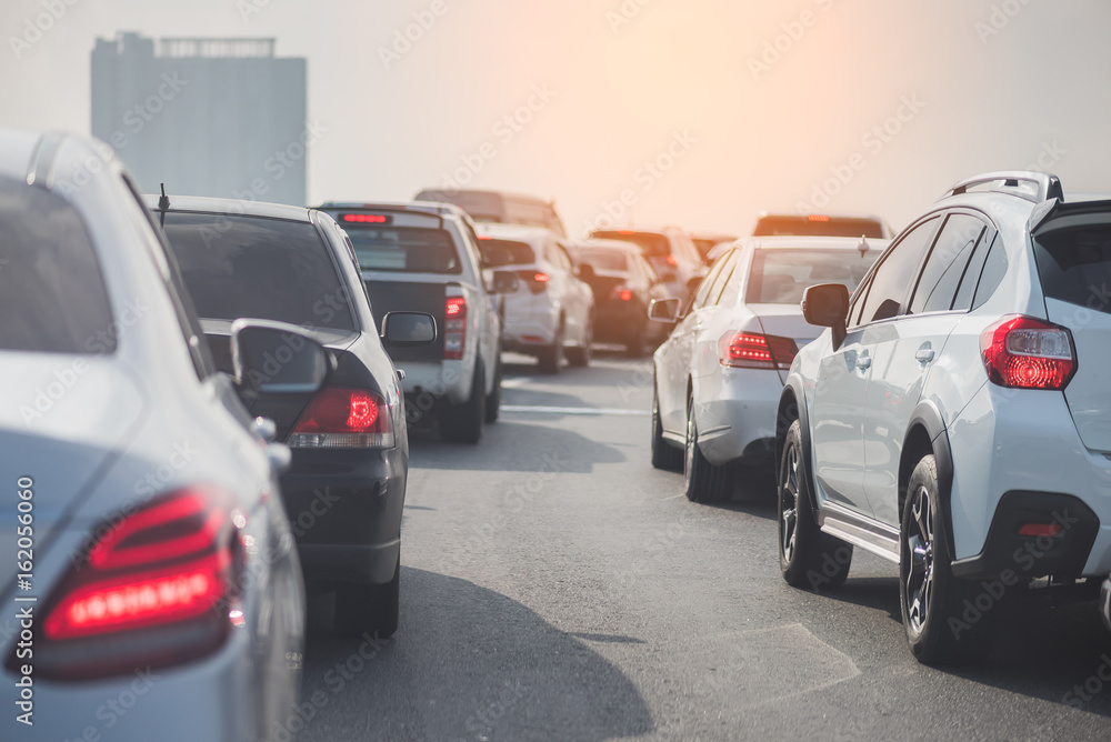 Fototapety, obrazy: traffic jam on toll way with row of cars