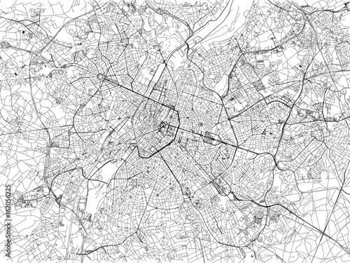Cartina di Bruxelles, città, strade, Belgio Wallpaper Mural