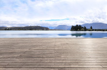 Empty Wood Platform With Beaut...