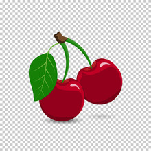 Red Cherry On A Transparent Ba...