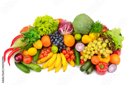 Foto op Aluminium Vruchten Big collection of fruits and vegetables isolated on white background.