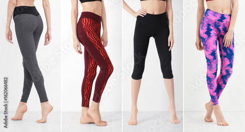 Collage of young woman in different sport pants on light wall background Slika na platnu