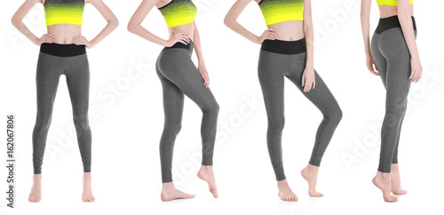 Different views of young woman in sport pants on white background Fototapeta