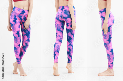 Fotografering Different views of young woman in sport pants on white background