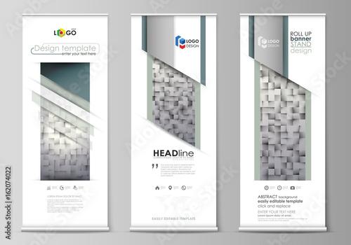 Roll up banner stands, flat design templates, modern business