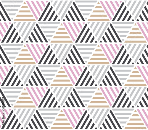 obraz lub plakat Modern style vector illustration for surface design. Abstract seamless pattern with triangle motif in natural beige and gray colors.
