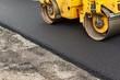 canvas print picture - New asphalt road. Road asphalt works. Construction works.