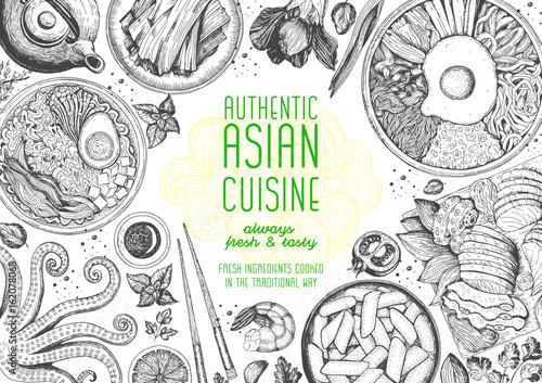 Asian cuisine top view frame. Food menu design with noodles,ramen, shrimps, bibimbap, kimchi and seafood set. Vintage hand drawn sketch vector illustration.