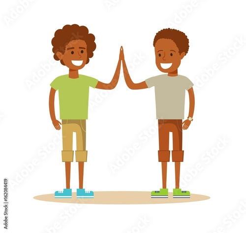 Pupils giving each other a high five twoyoung african american boy pupils giving each other a high five twoyoung african american boy cartoon character illustration m4hsunfo