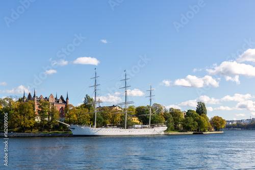 Photo  Old sailing vessel in Stockholm.