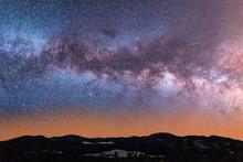 Stunning Milky Way Above Mountain Range Landscape On Clear Starry Night
