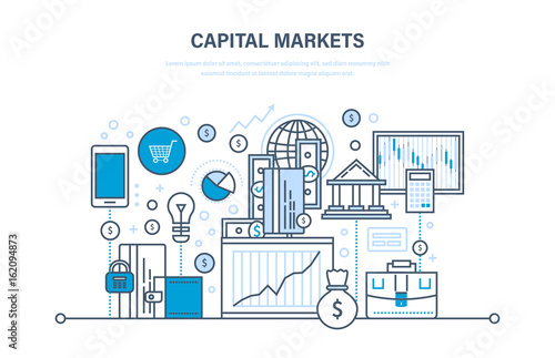 Leinwand Poster  Capital markets, trading, online banking, e-commerce, investment growth, marketing, finance