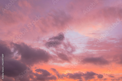 In de dag Candy roze A dramatic sunset cloud formation with vibrant colors across the sky at summer time in Houston, Texas, America. Nature in twilight period, beautiful landscape background.