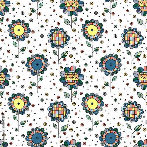 bezszwowa-wektorowa-reka-rysujacy-doodle-dziecinny-kwiecisty-wzor-tlo-z-dziecinnymi-kwiatami-liscmi-dekoracyjna