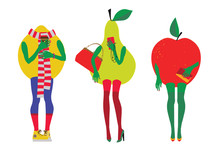 Set Of Fruit In The Image Of B...