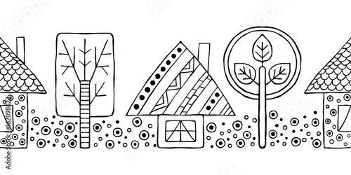 Vector hand drawn seamless pattern, decorative stylized black and white childish houses, trees. Doodle sketch style, graphic illustration, background. Ornamental cute hand drawing. Line drawing.