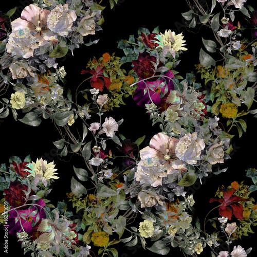 Akwarela obraz liść i kwiaty, bezszwowy wzór na ciemnym tle